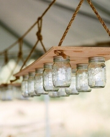 Mason jars can become a simple hanging light.
