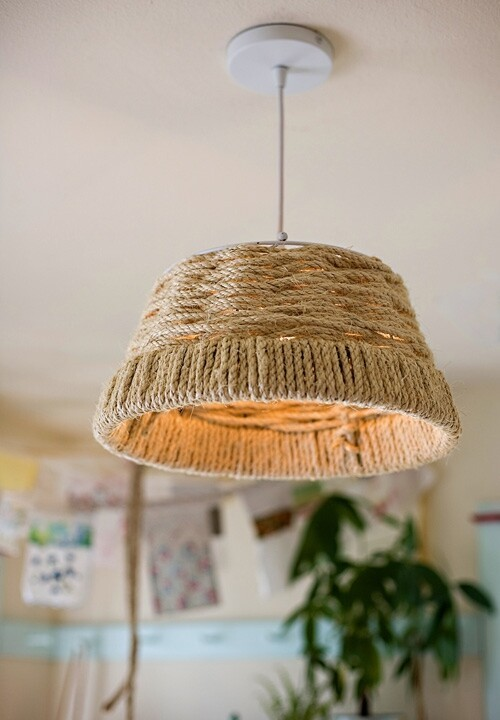 Make a vaguely nautical woven rope lamp.
