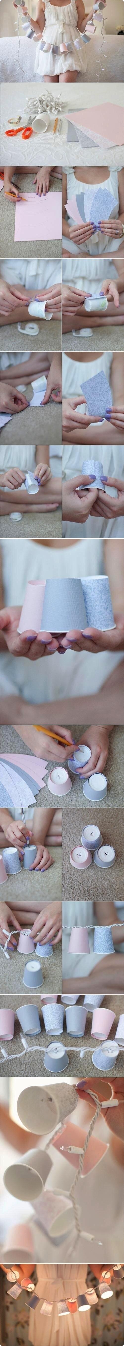 Turn Dixie cups into a light-up garland.