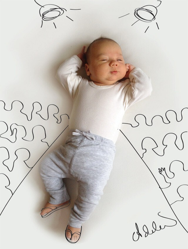 Cute Sketches Imagine What a Baby is Doing While Taking a Nap