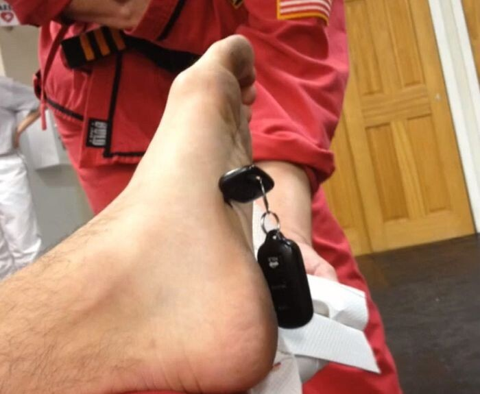 Guy Nails Car Key in the Foot in Karate Class