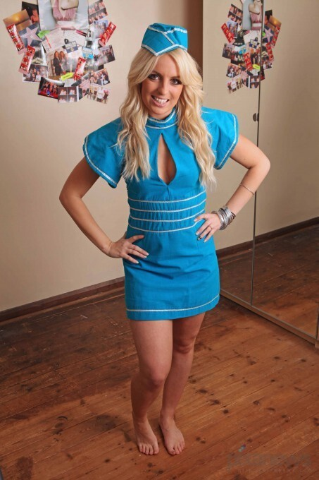 britney spears double, michaela weeks, blue dress