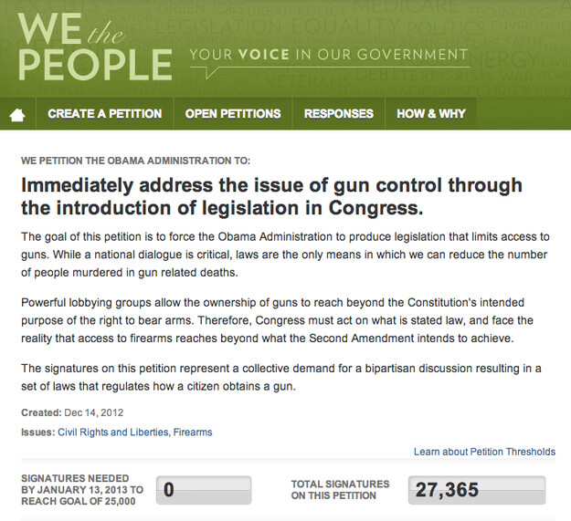 This petition for tighter gun control recently passed the 25,000 mark, which means, now it has to go through the house..