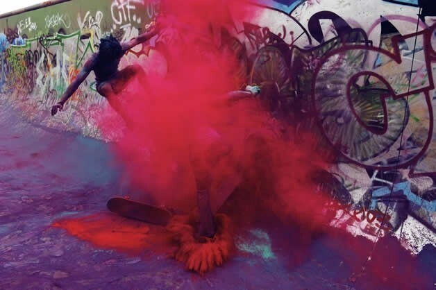When Skaters Go To War Using Coloured Powder