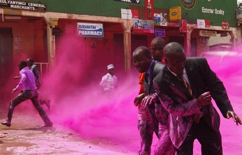 Fighting Protesters With Colored Water