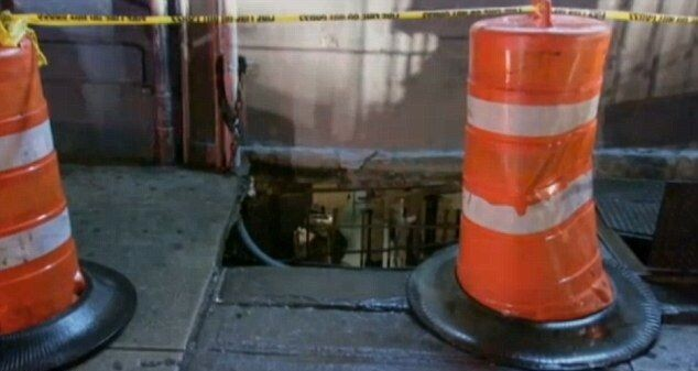 Sidewalk Collapsed under Overweighed Woman