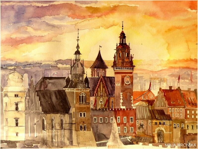 Watercolor Cityscapes by Maja Wronska