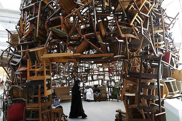 Huge Pavilion Made of Stacked Chairs
