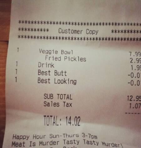 Hilarious Receipts.