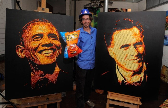 Unbelievable Cheetos Portrait Of Romney And Obama!