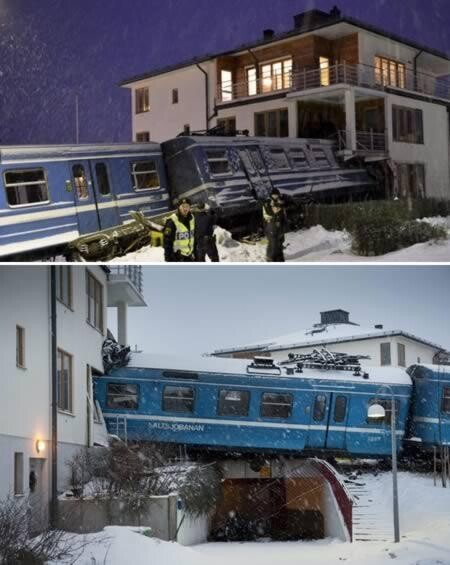 Train stolen and crashed into a house