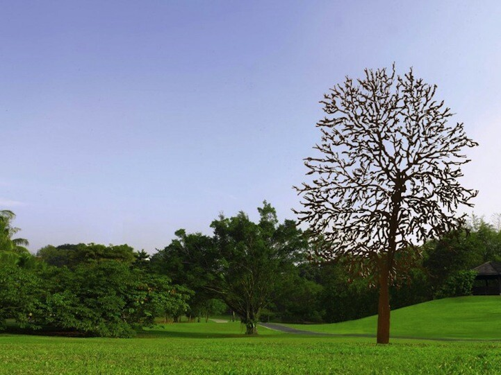 Whimsical Steel Flowers and Trees Installed in Nature