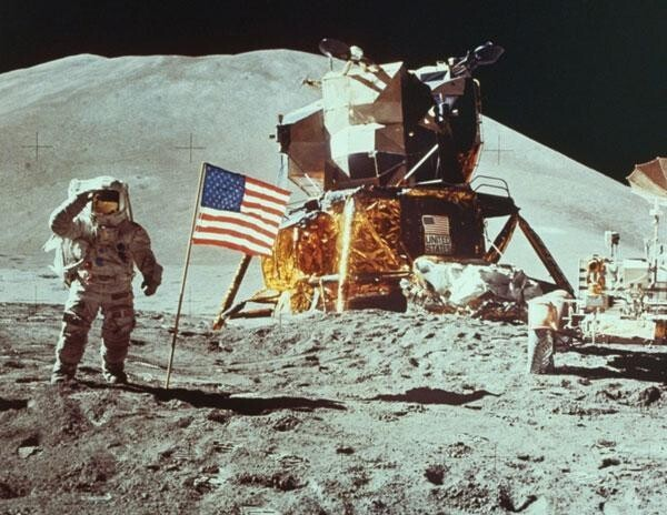 On The Moon With American Flag