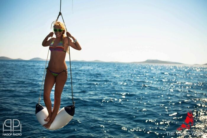 Cute Girl On Boat Rope