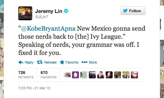 He even used his Harvard education to correct grammar while talking trash.