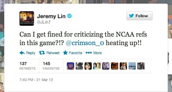As Harvard's Star Player started to heat up Lin was feeling this game.