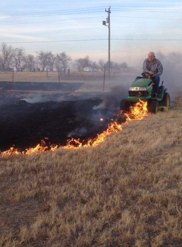 Mowing The Flame Lawn