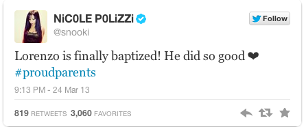 Nicole Polizzi Tweets About Baby's Baptism