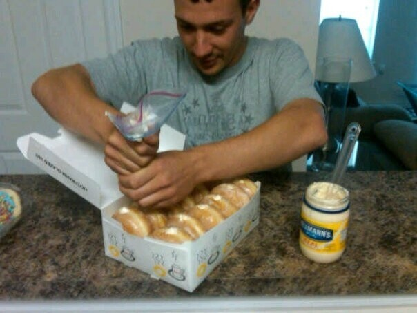 And for a really cruel prank, fill doughnuts with mayo.