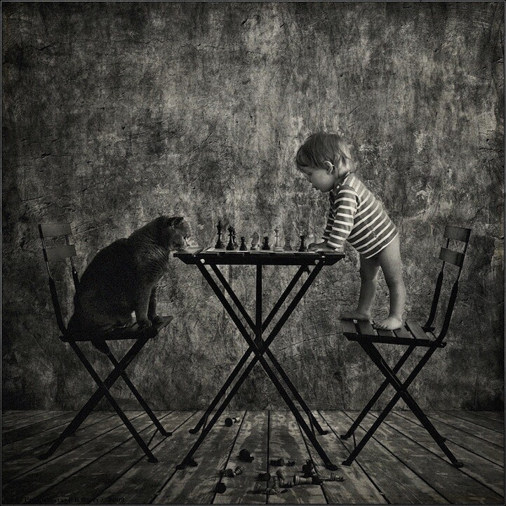 Girl and Cat Playing Chess