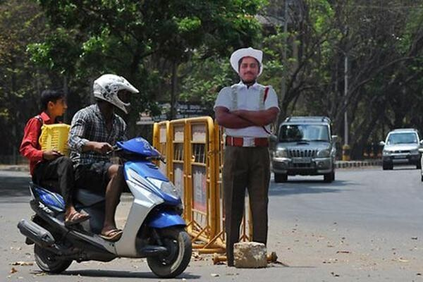 Cardboard Traffic Policeman of India