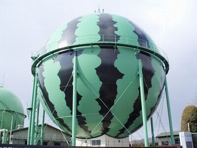 A gas tank painted as watermelon in Japan