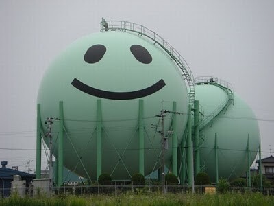 smiling gas tank in Japan