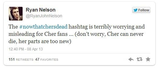 Poorly-Worded Hashtag for the Late Margaret Thatcher Makes People Think Cher is Dead