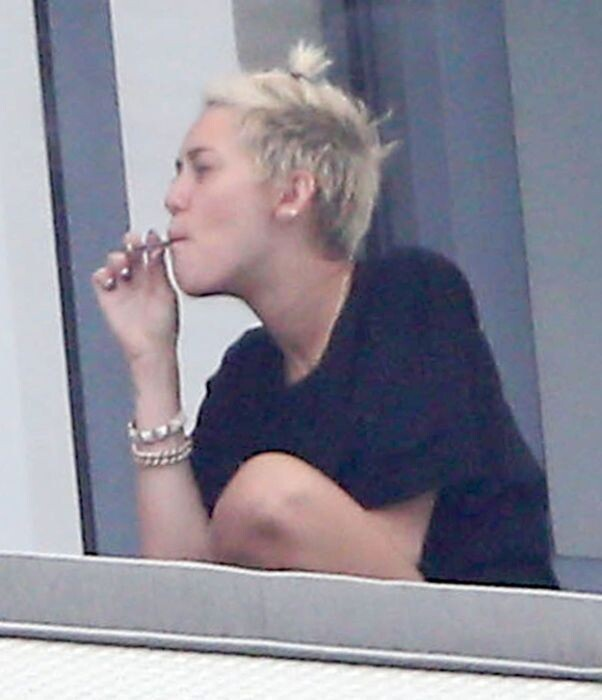 Miley Cyrus Smoking A Joint