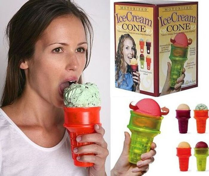 Ice cream eating device for lazy people