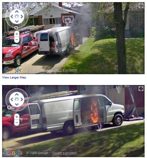 Burning van in Canada