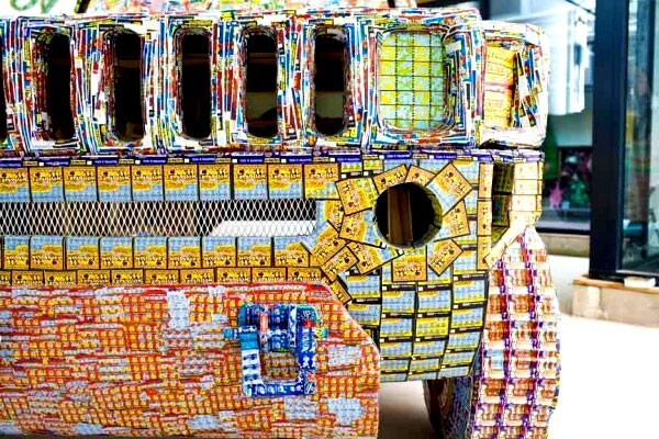 Discarded Lottery Tickets Turned Into Extravagant Items