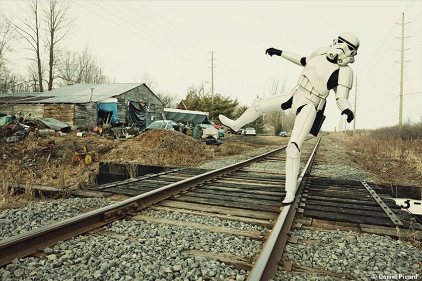 Storm Trooper on railroad tracks