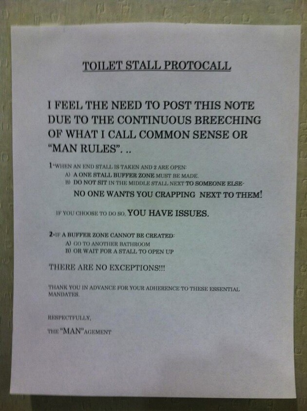 12 Passive Aggressive Bathroom Notes
