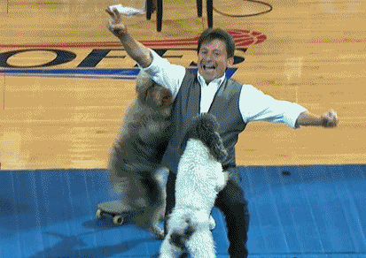 Dogs Backflipping During NBA Playoffs Game Is Mesmerizing
