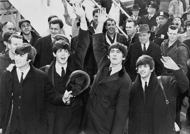 Borsi looking on as the Beatles arrive on US soil
