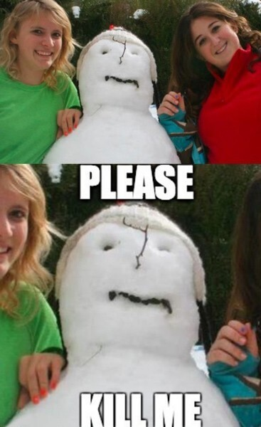Snow man in pain