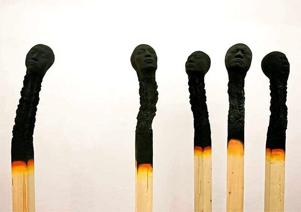 Charred & Burnt Matchstick Heads Reveal Human Faces