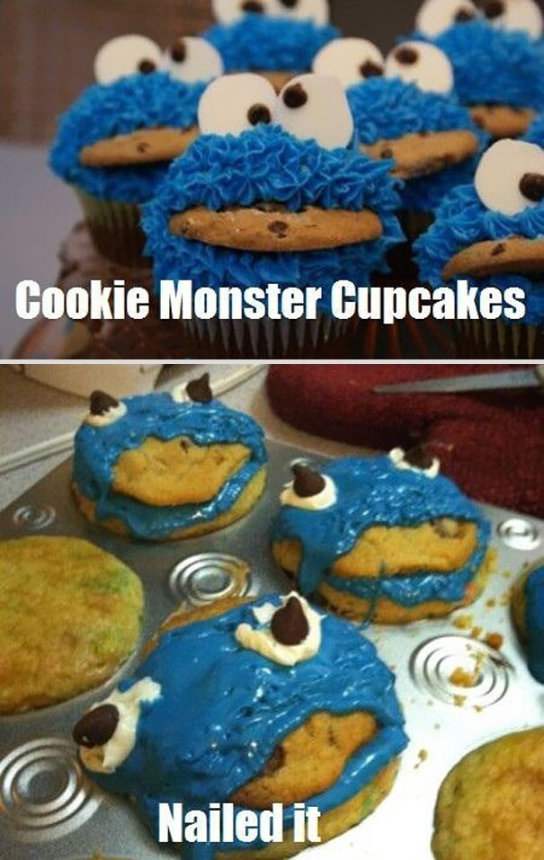 13. Cookie Monster Cupcakes