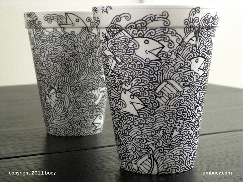 Black Marker Coffee Cup Artwork by Cheeming Boey