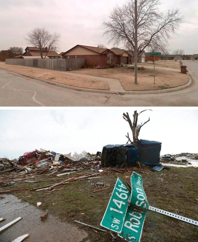 Before-and-after photos of the tornado's devastation in Oklahoma