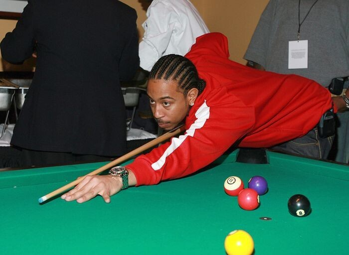 Ludacris missing every pool ball by a good three feet: