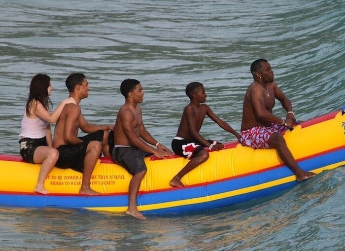 And, finally, Diddy riding a banana boat into the sunset: