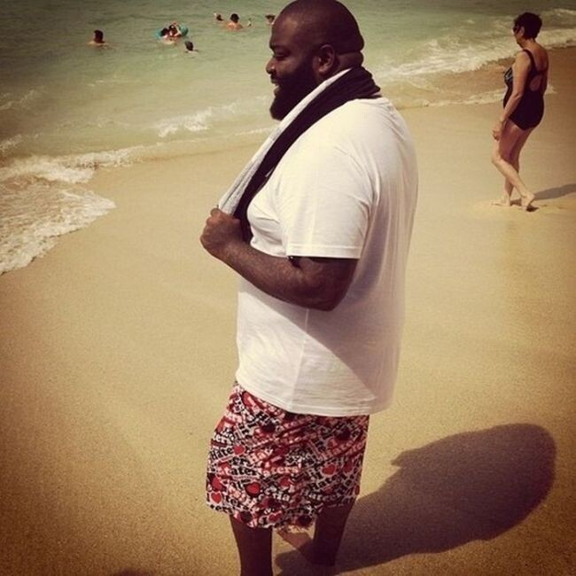 "Rick Ross going swimming in a shirt because ""it's cold out:"""