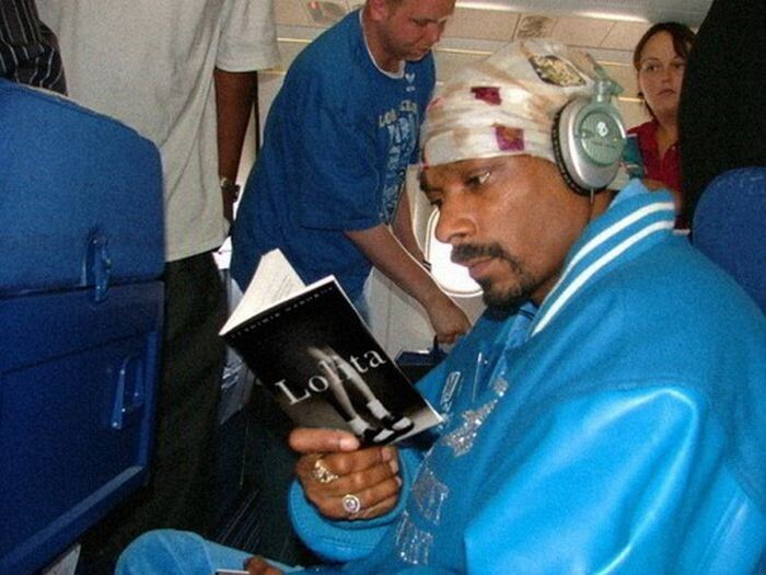 Snoop Dogg engrossed in a book: