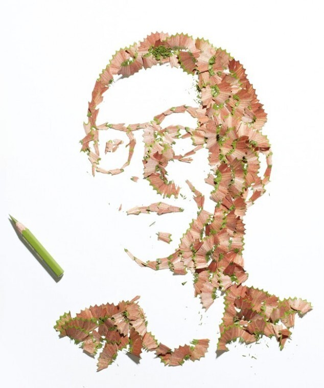 Portraits made of pencil shavings