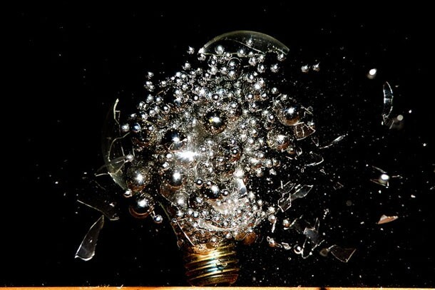 Dramatic Photos Of Lightbulbs Filled With Explodable Objects