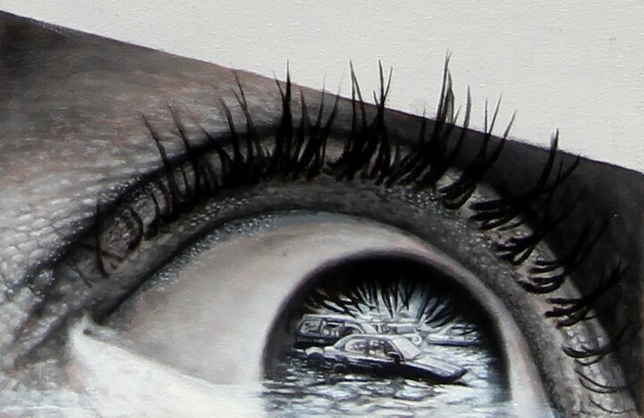 Photorealistic Paintings of Eyes Reflecting Their Surroundings
