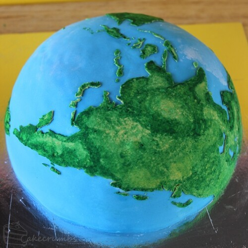 Earth Cake with Inner Core, Outer Core, Mantle, and Crust