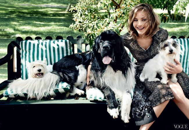 Jennifer Lawrence With Dogs 'Vogue' Photos